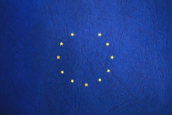 Gold stars in circle on blue background, EU flag
