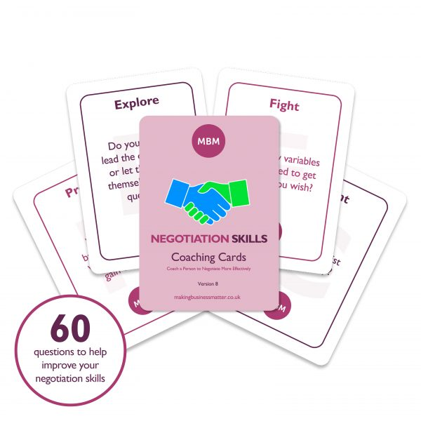 5 coaching cards with a circle of text in the left corner