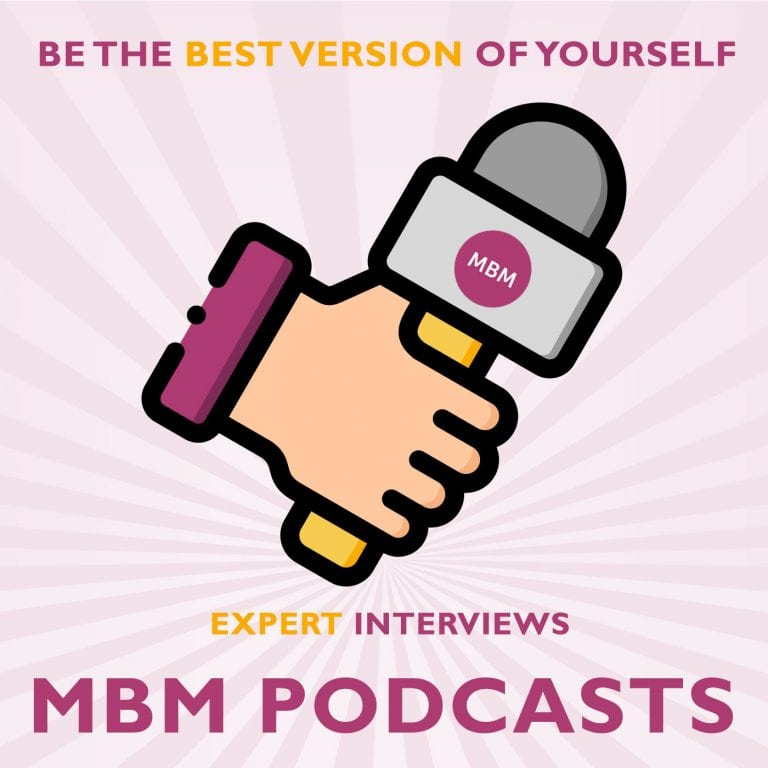 A cartoon hand holding a microphone with MBM Podcasts underneath