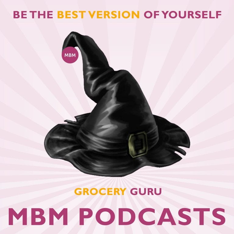 MBM Podcast poster with a witch's hat in the middle