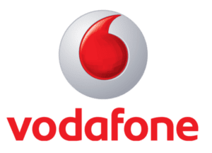 White circle with red circle in the middle and Vodafone written underneath