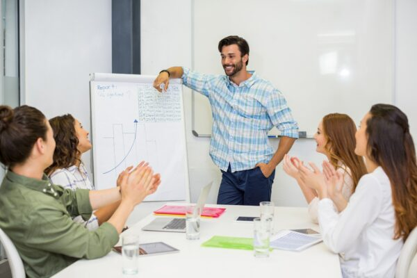 Man standing in front of presentation board while co workers clap