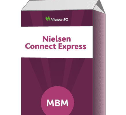 Purple carton with Nielsen Connect Express on label