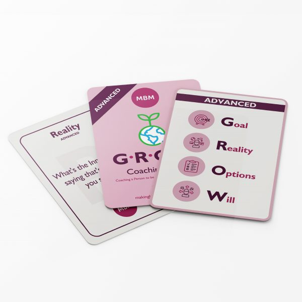 3 coaching cards fanned out on white background