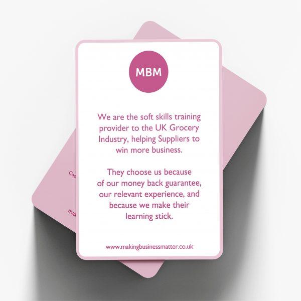 MBM coaching card introducing the MBM brand