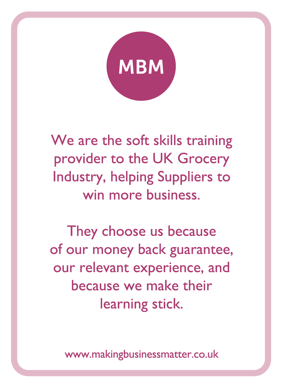 C-suite coaching card titled MBM
