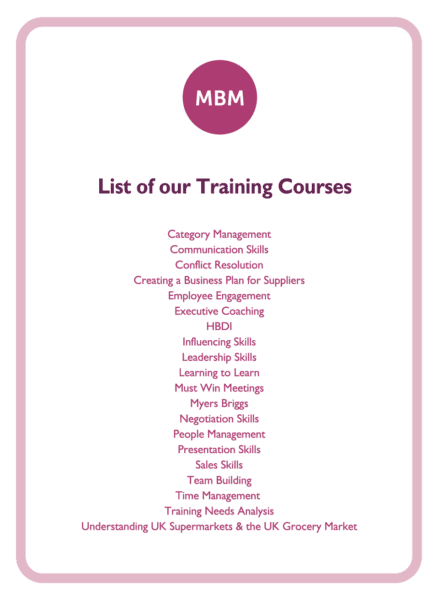 C-suite coaching card titled List of our Training Courses