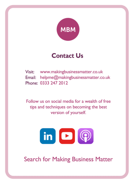 C-suite coaching card titled Contact Us