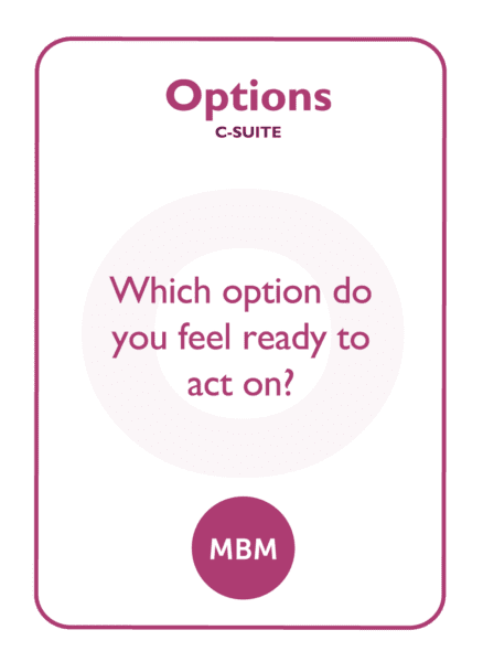 C-suite coaching card titled Options