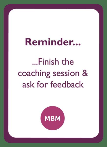 C-suite coaching card titled Reminder