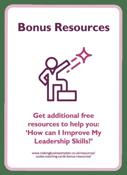 C-suite coaching card titled Bonus Resources