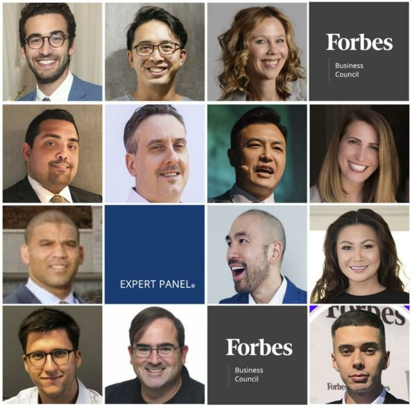 A collage of many headshots of Forbes writers