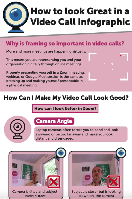 MBM infographic titled How to look great in a video call