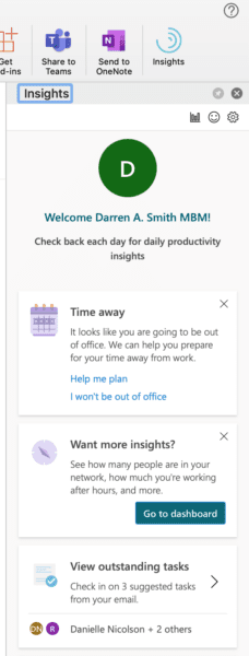 Screenshot of how to use MyAnalytics in Outlook