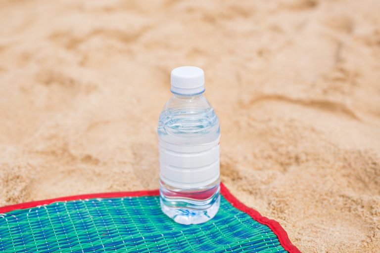Bottled water on a beach