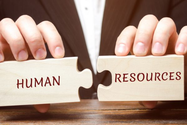 Two jigsaw piece that say Human Resources