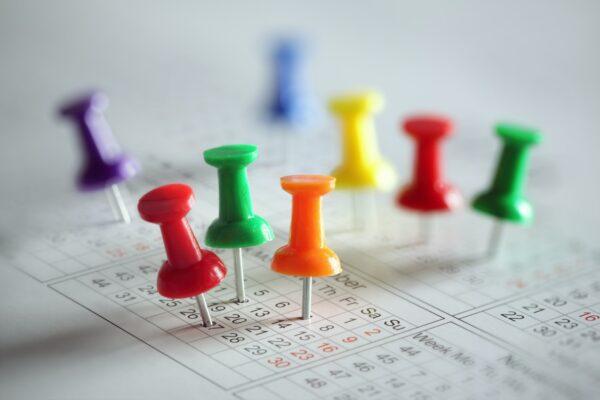 Coloured pins in a calendar