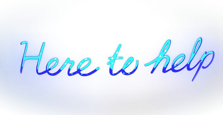 Here to help written in ombre blue