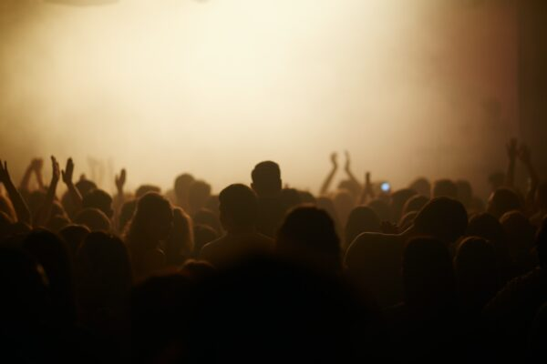 Silhouette of a crowd at a music event