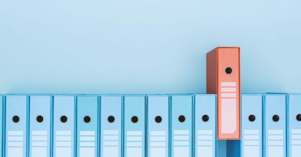 Row of binders organised