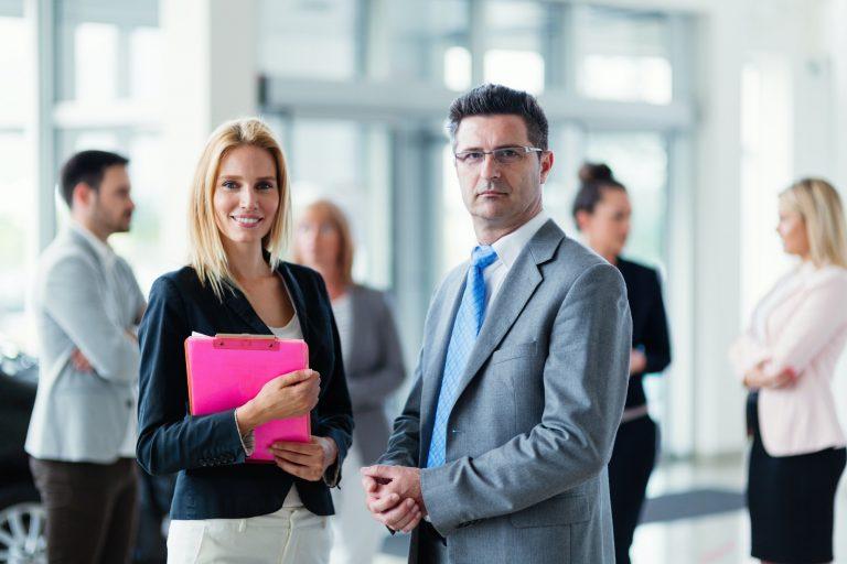 Businessman and businessman negotiating sales