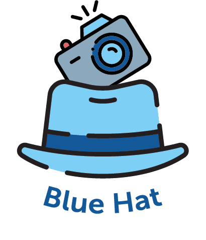 Cartoon image of a blue hat with a camera
