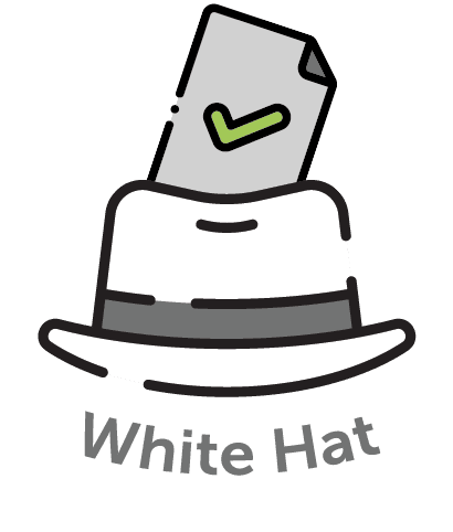 Cartoon image of a white hat and a card inside