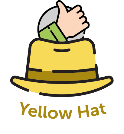Cartoon yellow hat with a thumbs up