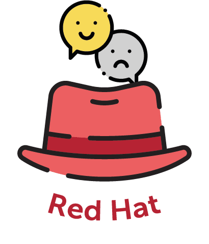 Cartoon red hat with emojis above