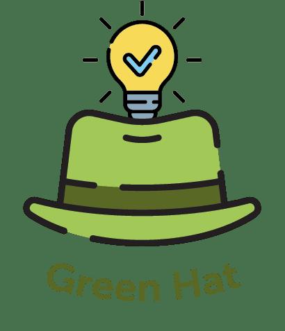 Cartoon green hat with lightbulb in it