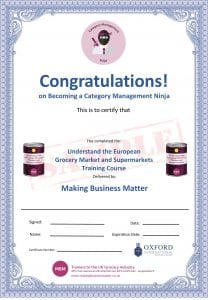 Certificate for becoming a category management ninja