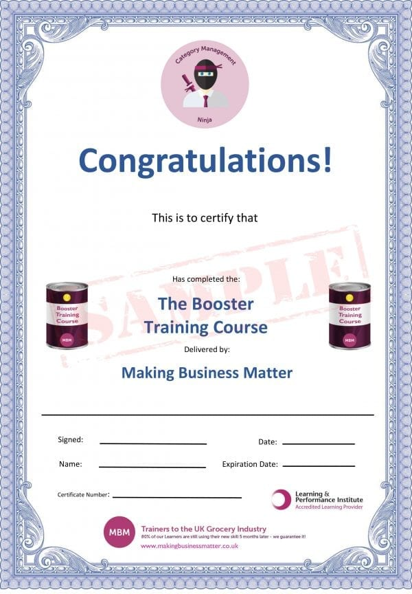 Certificate for The Booster Training Course