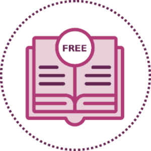 Purple open book icon with FREE on it
