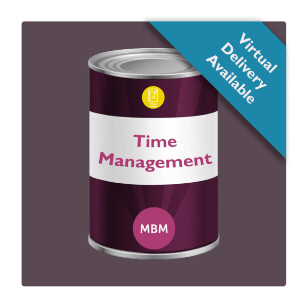 Purple tin with Time Management on the label