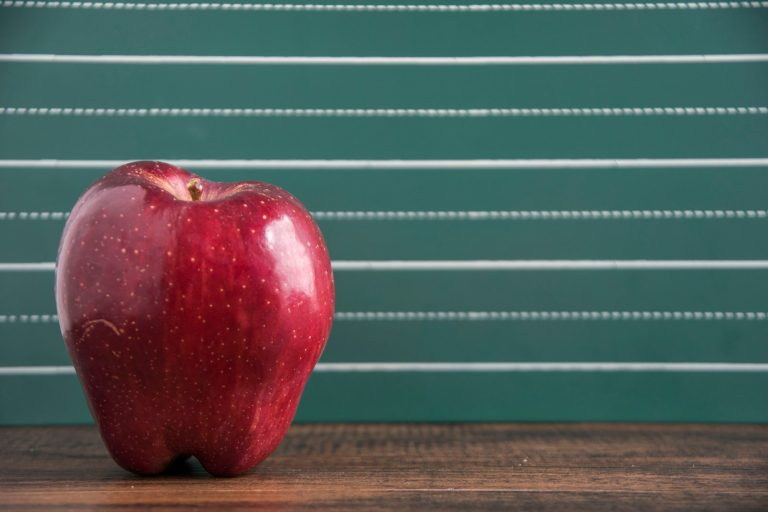 A red apple in front of a chalkboard background