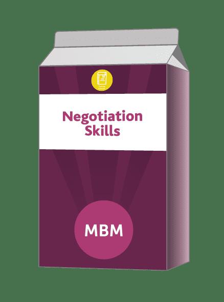 Purple carton with Negotiation Skills on label