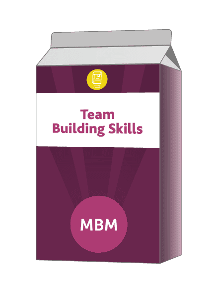 Carton with Team Building Skills on label