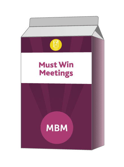 Purple carton with Must Win Meetings on label
