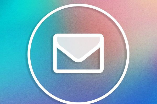 White email icon on a ombre coloured background