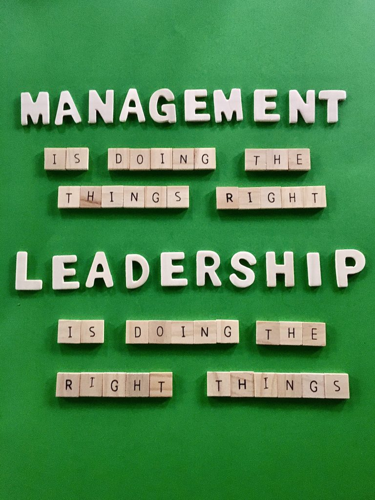 Management and leadership written with quotes