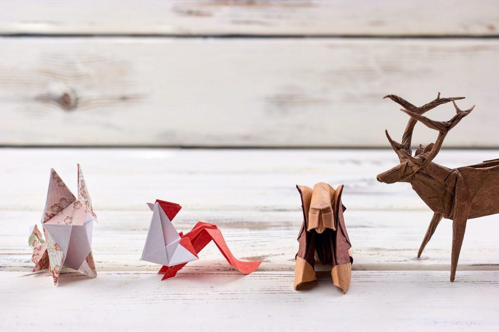 Four origami animal models