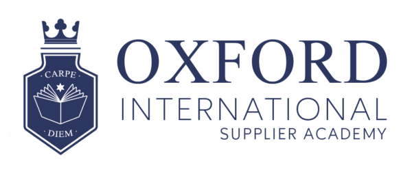 Logo with Oxford International Supplier Academy in blue with badge on the left