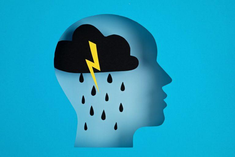 Cartoon head with a raincloud inside