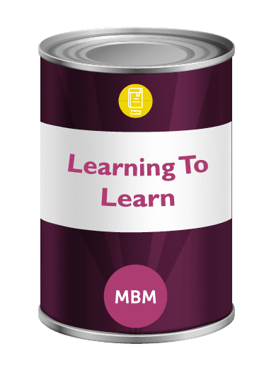 Purple tin with Learning to Learn on label