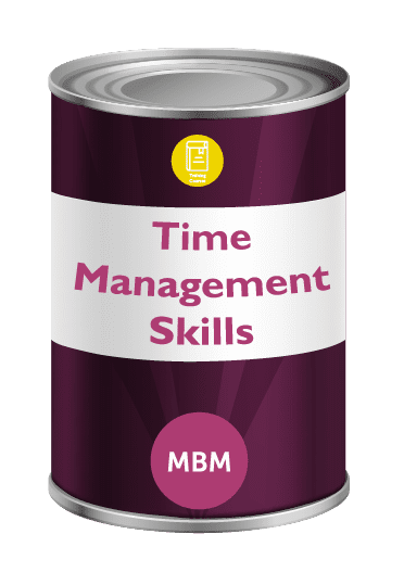 Purple tin with Time Management on label