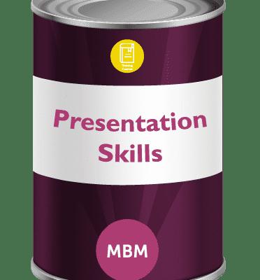 Purple tin with Presentation Skills on label
