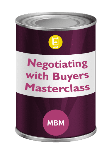 Purple tin with Negotiating with Buyers on label