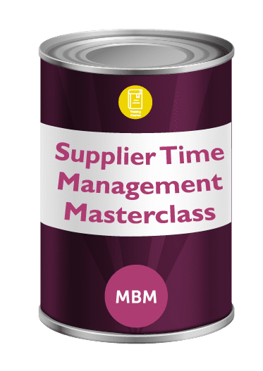 Purple tin with Supplier Time Management Masterclass on label