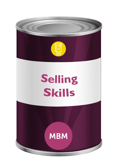 Purple tin with Selling Skills on the tin