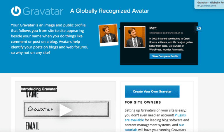 Screenshot of the Gravatar home page